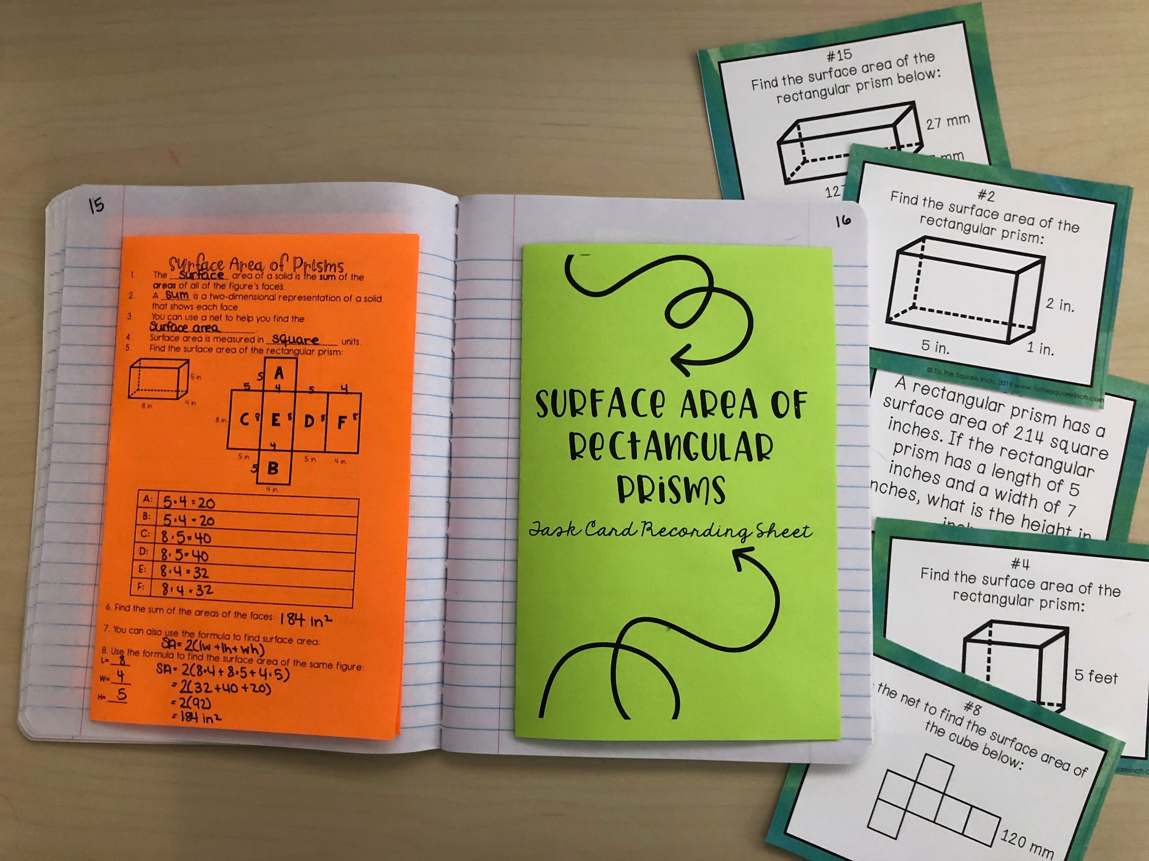 Surface Area Of Rectangular Prisms Task Cards With Images