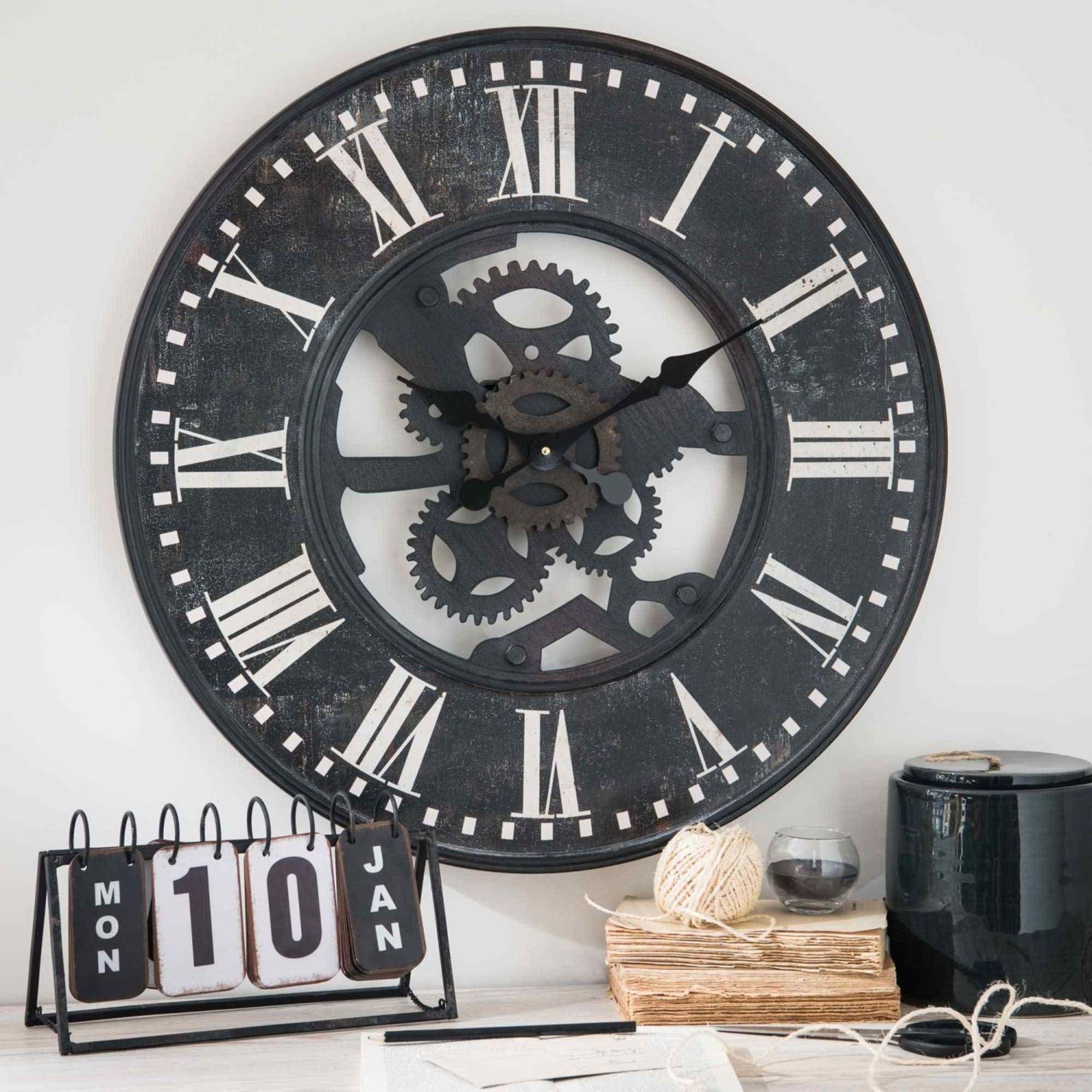 Horloge A Rouages En Metal Noir Effet Vieilli D60 Tobias Maisons Du Monde Horloge Maison Du Monde Horloge Horloge Murale Industrielle