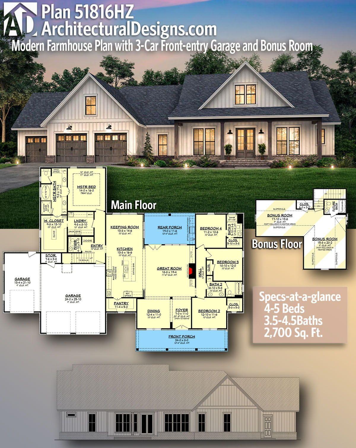 Plan 51816hz Modern Farmhouse Plan With 3 Car Front Entry Garage And Bonus Room Modern Farmhouse Plans House Plans Farmhouse New House Plans