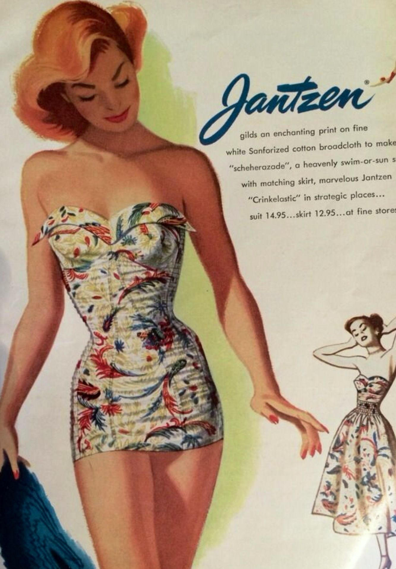 Vintage Swimwear One Piece Part - 31: Vintage Swimsuit...love The Matching Over-skirt!
