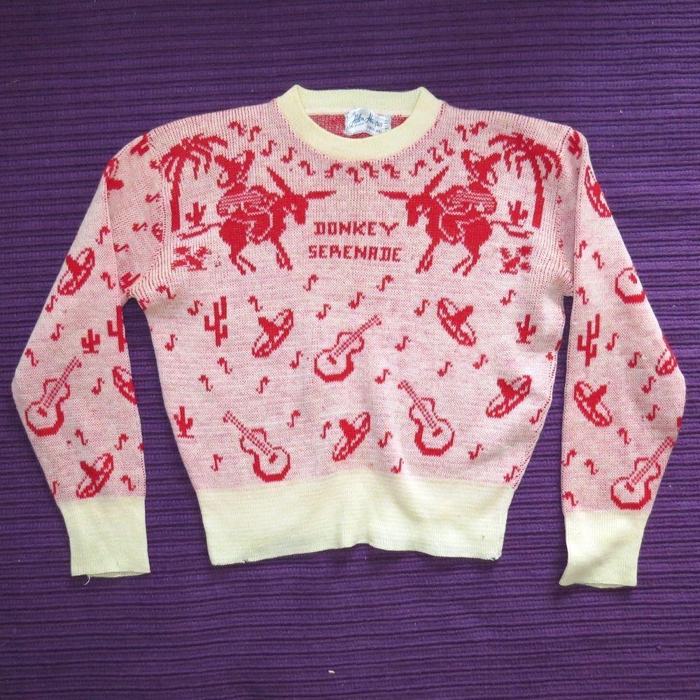 Vtg 40s HELEN HARPER 'Donkey Serenade' Jacquard Print Wool Sweater S Kitsch #HelenHarper