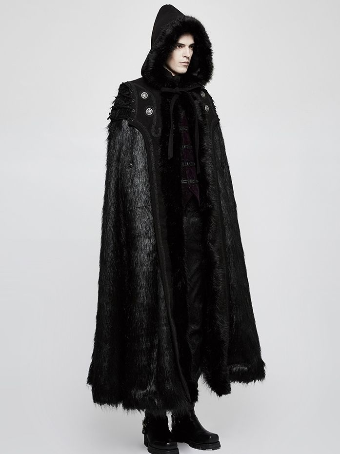 Free size men s black long wide hooded cape is made of synthetic long-hair  fur. Fixed with the ribbon at the neck b4c3c4556