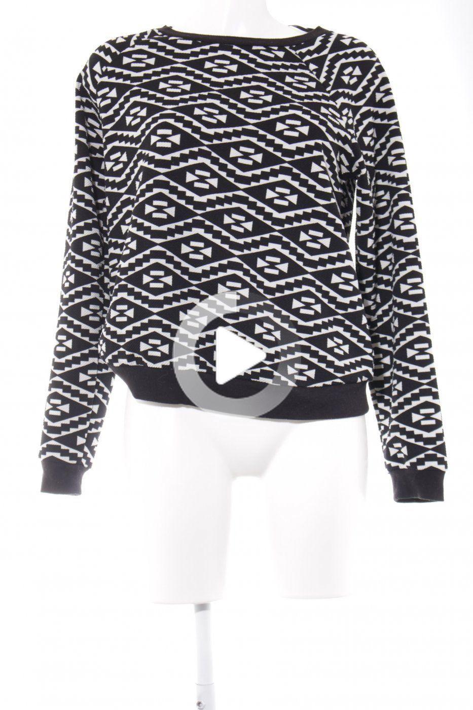 Forever 21 Sweatshirt schwarz-weiß grafisches Muster Casual-Look | Mäd