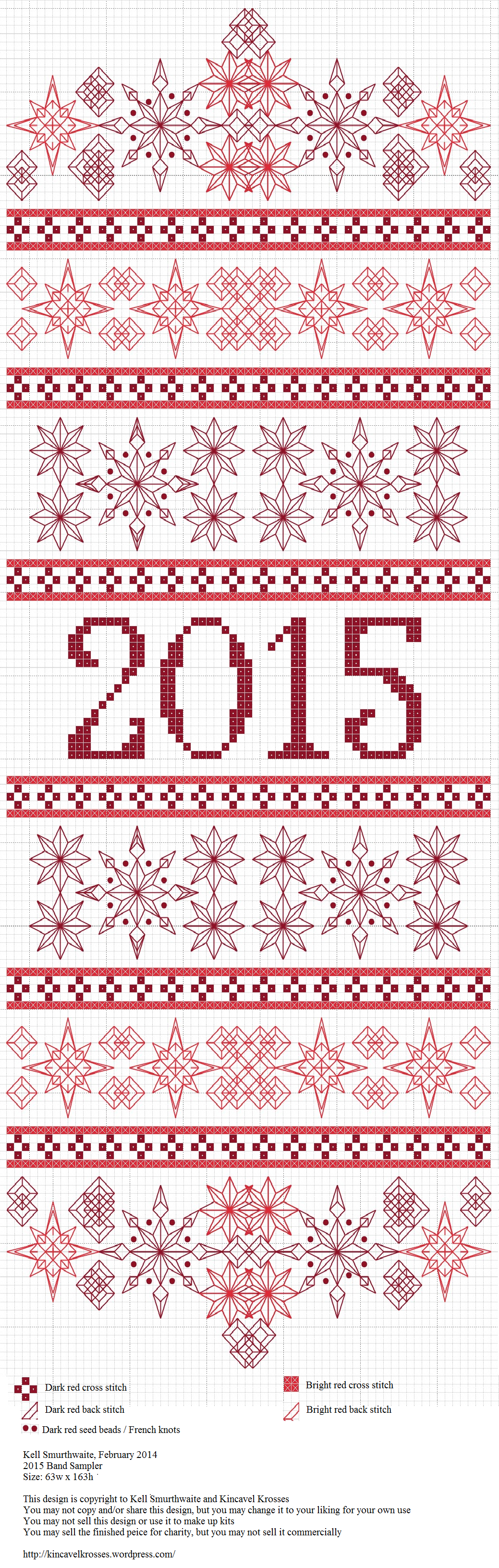 Counted cross stitch 2015 Band Sampler - please respect the copyright on this free sampler.