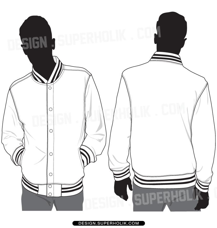 Varsity Jacket Template Set Fashion Vector Templates In 2019