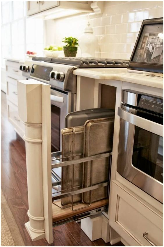 10 Practical Cookie Sheet And Baking Tray Storage Ideas Https Www Pinterest Com Pin 2466 Small House Kitchen Ideas Kitchen Remodel Small Kitchen Design Small