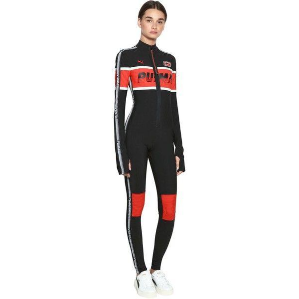 f54a5dad8dd Fenty X Puma Women Logo Printed Nylon Racing Jumpsuit ( 680) ❤ liked on  Polyvore