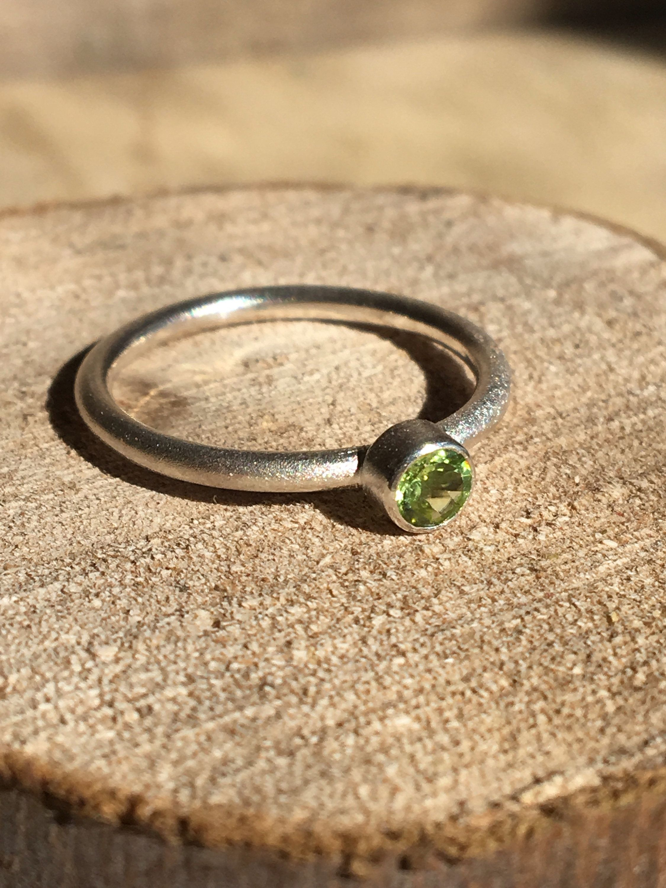 Peridot Sterling Silver Stacking Ring Silver Rings Minimalist
