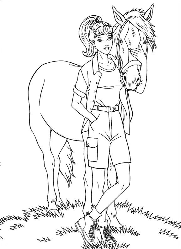 Barbie With Horse Coloring Pages - Barbie Dolls cartoon coloring ...