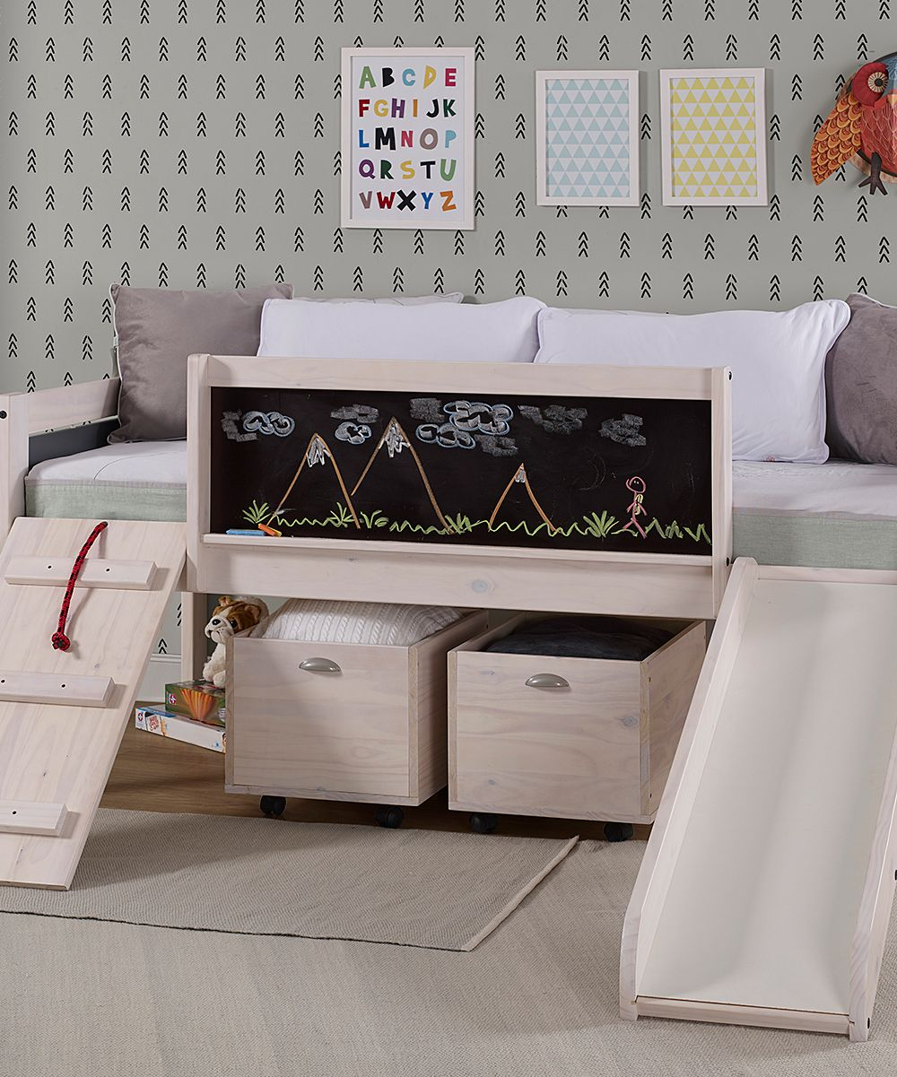 Donco Kids White Wash Art Play Low Loft Bed zulily Low