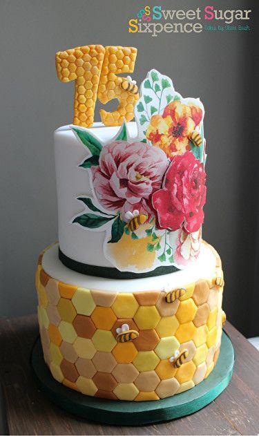 bee keeper garden gardener florals 75th birthday cake modern