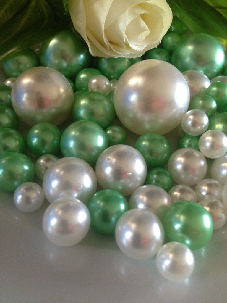 seafoam green and white pearls vase filler pearls diy floating