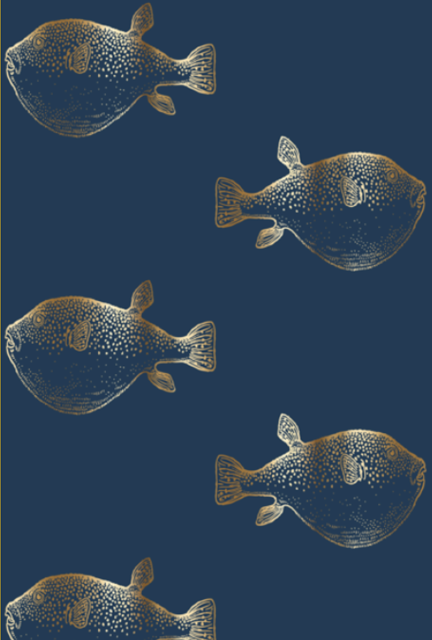 Gilded Mint Fish Wallpaper Fabric Wallpaper Room Wallpaper