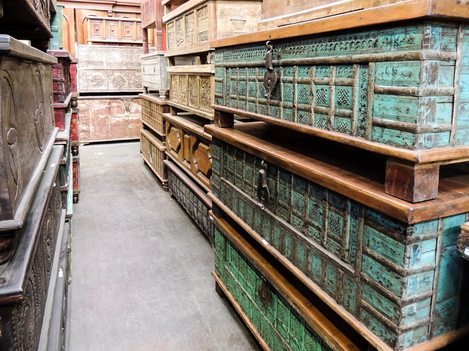 Visit Our Warehouse In Tempe Arizona Trunk Trunks Chest Chests Storage Box Boxes Wood Wooden Aqua Turquoise Old World Furniture Old World Arizona