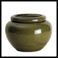 african pots   Moss Green Round African Violet Pot