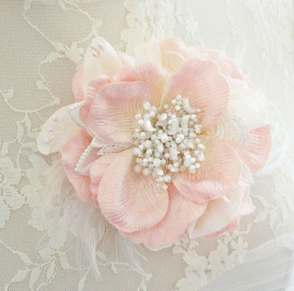 Bridal Hair Flower Blush Hair Flower Pink Hair Flower Pearl Hair