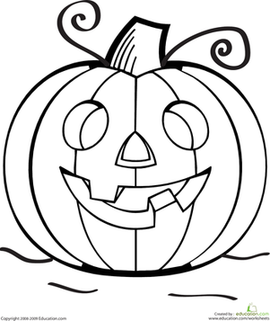 Color the Grinning Jack O Lantern Worksheets Halloween