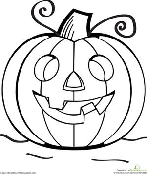 Color the Grinning Jack O Lantern Worksheets Halloween
