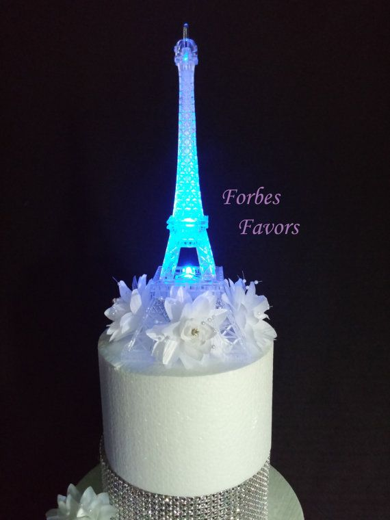 LED Eiffel Tower Light Up Cake Topper Wedding Cocktail Table