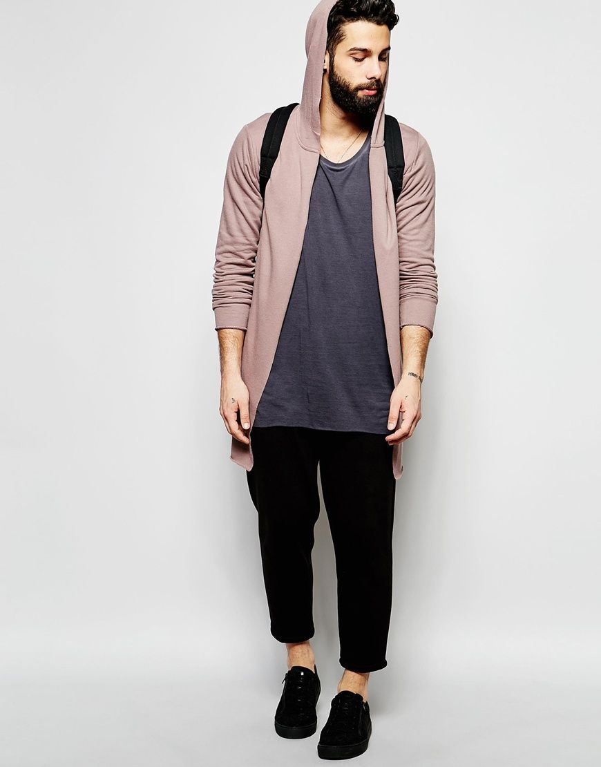 Image 4 of ASOS Super Longline Hooded Cardigan In Dusky Pink