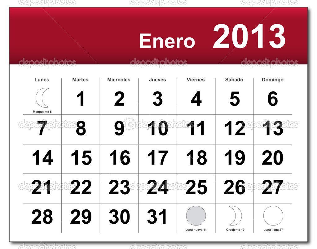 Printable Spanish Calendar Enero 2013 Spanish Version Of January