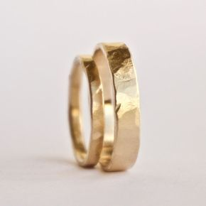 Wedding Ring Set Two Hammered Gold Rings Rustic Textured Rings