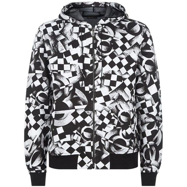 3ad7ddf408 Versace Geo Print Zip Hooded Sweater ($1,300) ❤ liked on Polyvore ...
