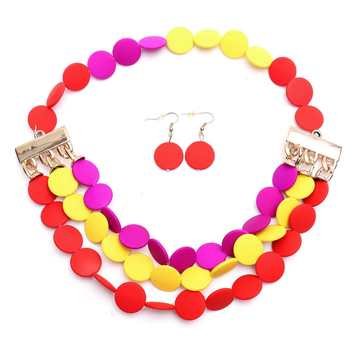 Bohemian Crystal Colorful Necklace Earrings Set