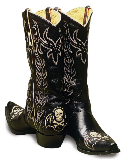 This hard rockin' boot features a snip toe, cowboy heel and skull ...