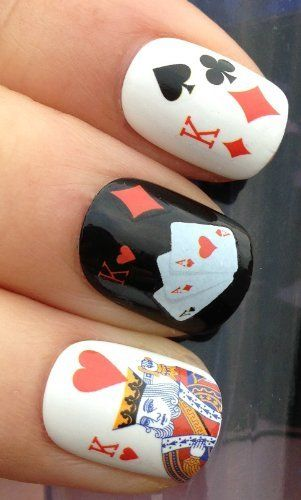 Nail Art Wrap Water Transfer Decals Casino Playing Cards Diamond