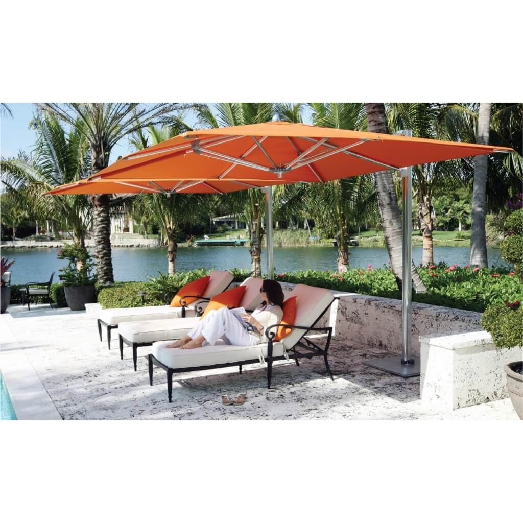 Outdoor garden best orange patio cantilever umbrella for Best poolside furniture