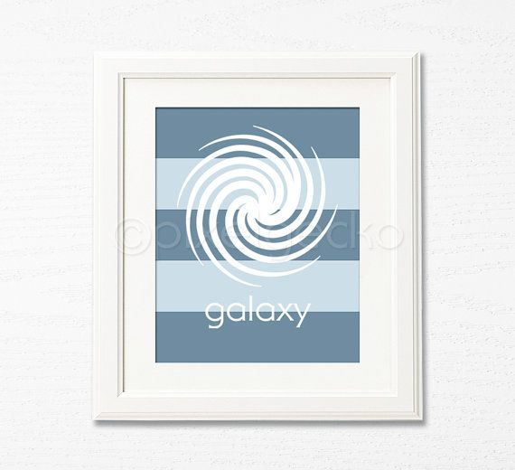 Galaxy  Baby Blue and Navy  8x10  Kids Room Decor  by pixelgecko, $14.90