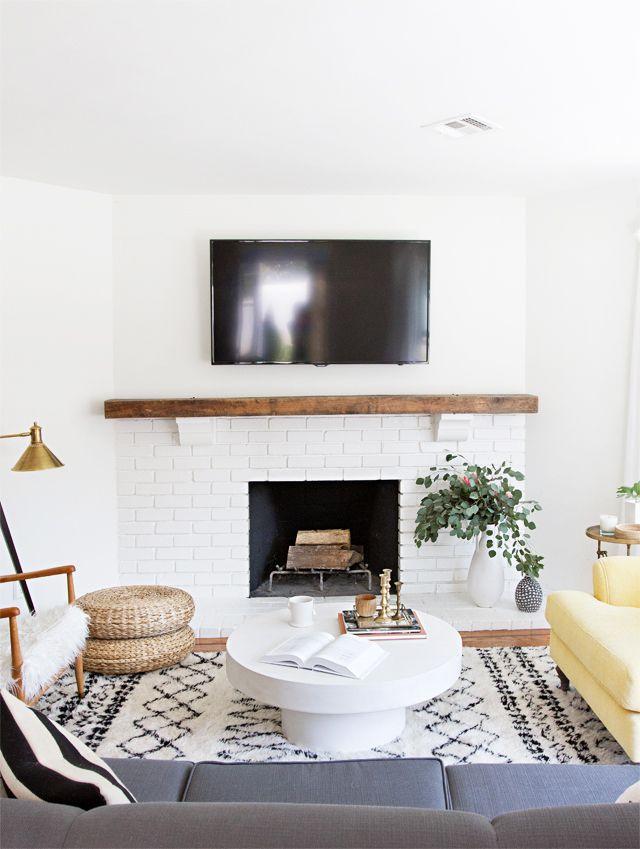 Sarah Sherman Samuel Rustic Modern Before After Fireplace