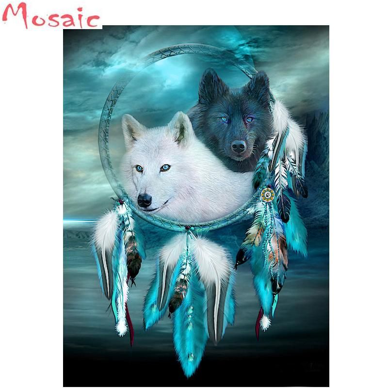 Photo of Indian Wolf Feather Dream Catcher 5D Diamond Painting Full AB Drills Kits for Adults Kids DIY Mosaic Cross Stitch Pattern Handmade Embroidery Kits Wall Décor – 45x60cm square