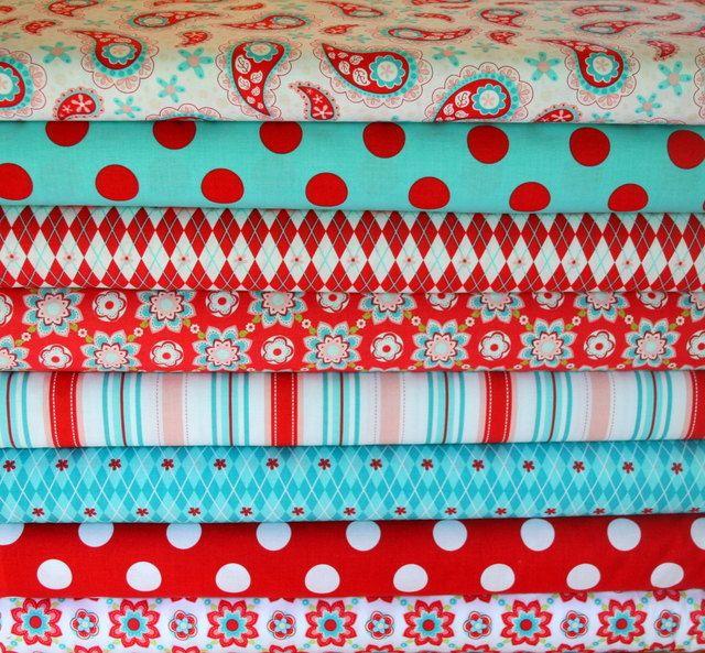 red and aqua fabrics