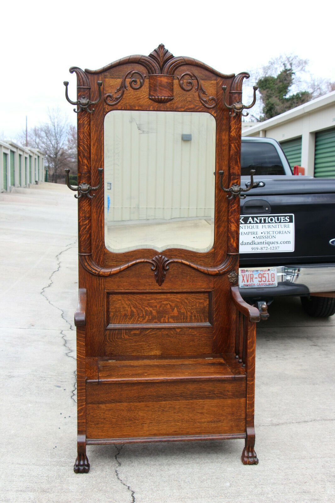 Fancy Victorian Tiger Oak Hall Tree with Beveled Mirror