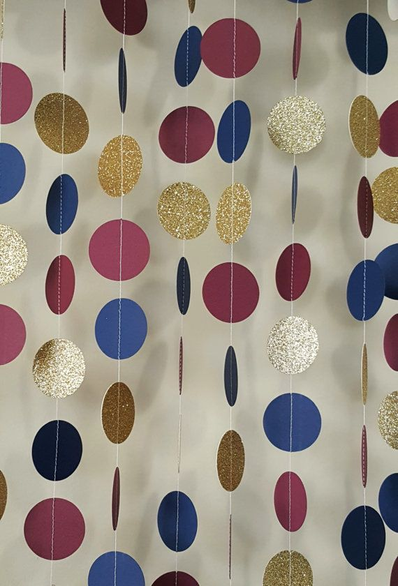 5cc12067d2c9 Gold Garland Navy Garland Maroon Garland Paper by OnceUponAPartyCo