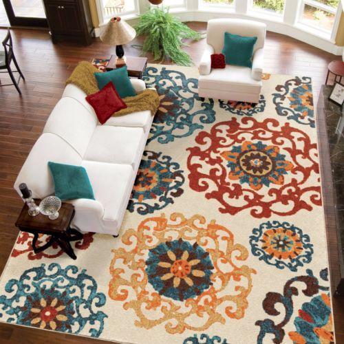 Elegant Area Rug Turquoise Orange Ivory Dynamic Design Carpet Floor Home Decor Turquoise Living Room Decor Suzani Area Rug Teal Living Rooms Elegant carpet for living room