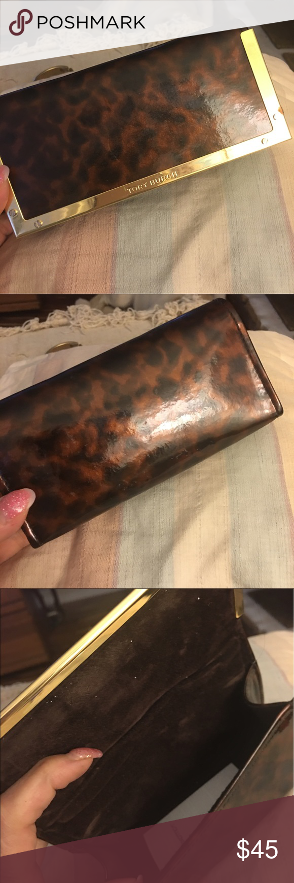 Tory Burch glasses case Gorgeous Tory Burch glasses case with goldtone hardware velvet inside deep case large enough for large sunglasses hard sided tortoise shell design Tory Burch Accessories