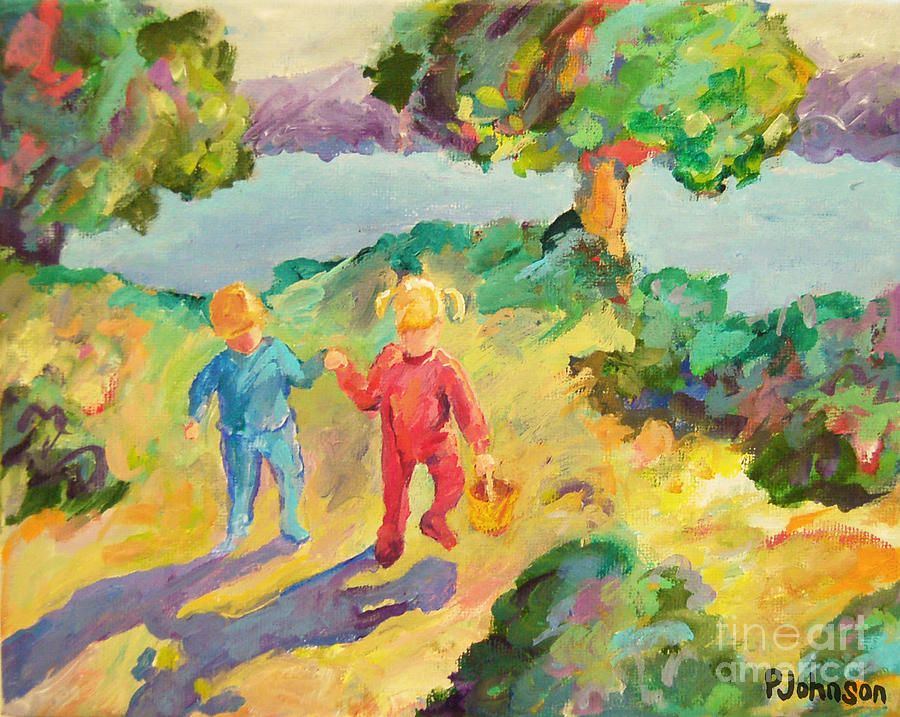Early Morning - Little Children ~ Peggy Johnson impressionistic painting, prints available