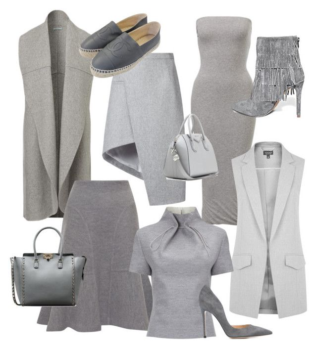 """""""My New Favorite Color...Grey!!!"""" by la-harrell-styling-co on Polyvore featuring Topshop, Thierry Mugler, Issa, J. JS Lee, Chanel, Steve Madden, Gianvito Rossi, Valentino and Givenchy"""