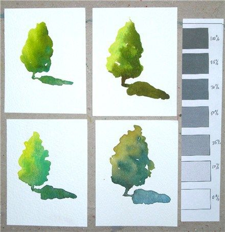 Exercise 3 Color Value And Temperature Watercolor Trees