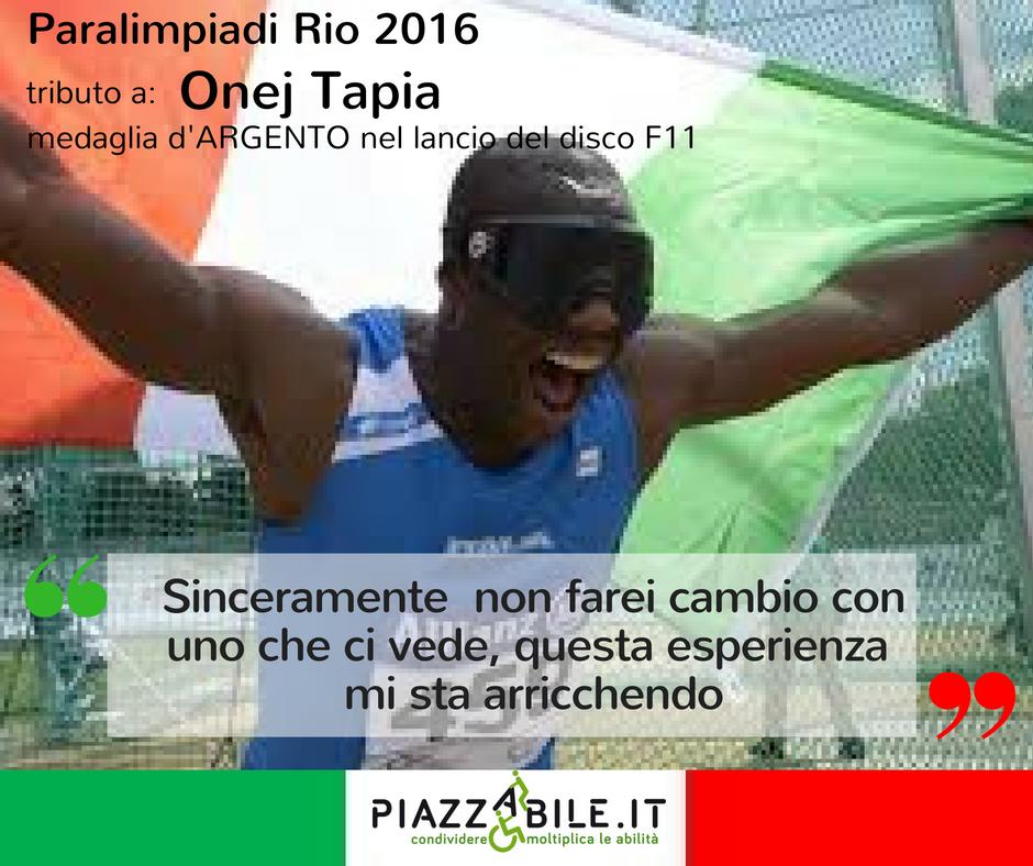 ONEJ tAPIA medaglia d'ARGENTO nel lancio del disco F11 atleta italia  paralimpiadi Rio 2016  piazzabile.it.