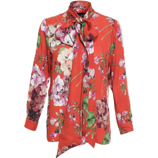 914cea79f3af Gucci Floral Print Silk Blouse (4.355 RON) ❤ liked on Polyvore featuring  tops, blouses, terracotta, silk top, heart blouse, flower print blouse,  floral ...