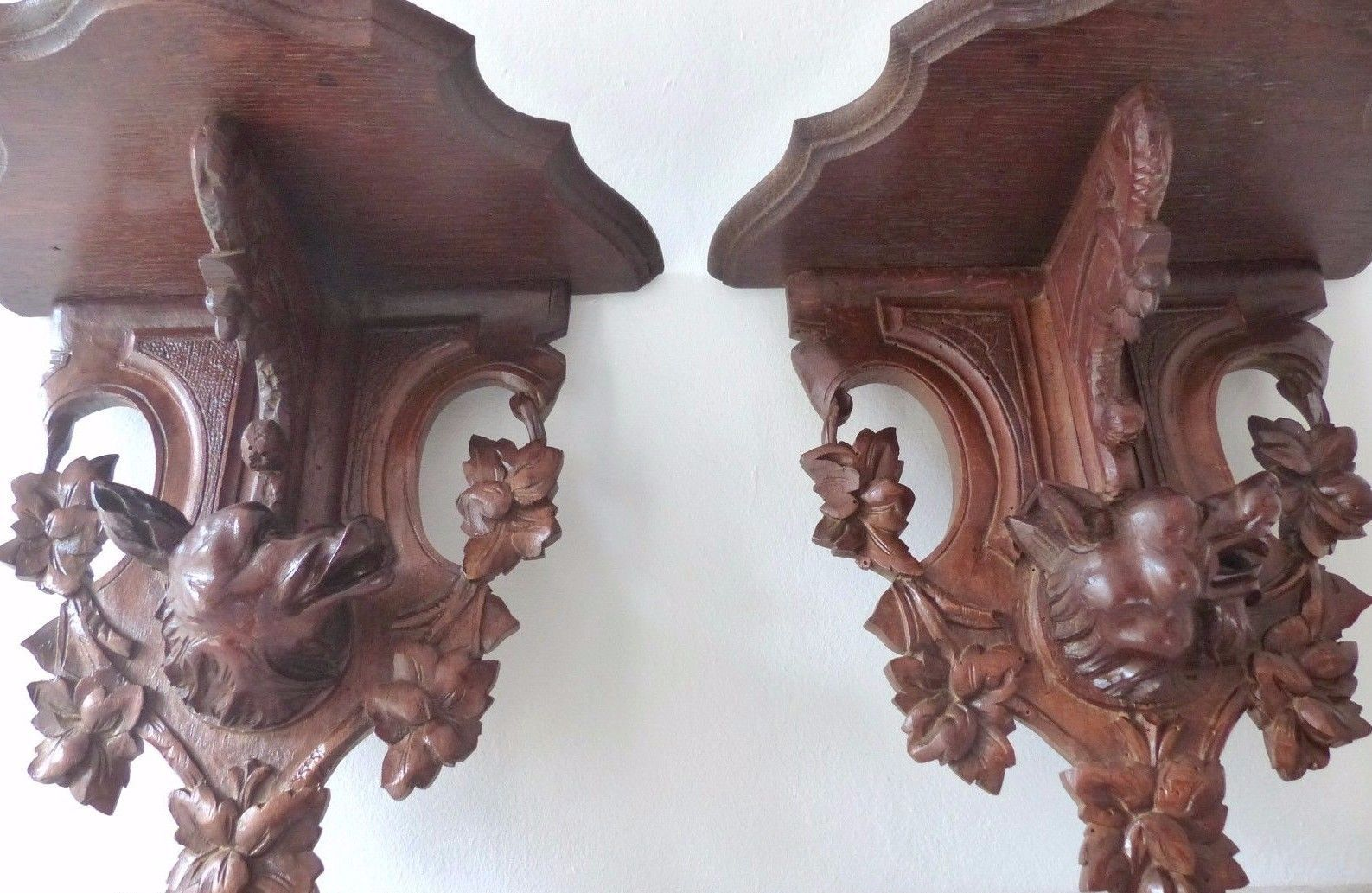 Antique Hand Carved Black Forest Hunting Dog Head Pair Wall Bracket