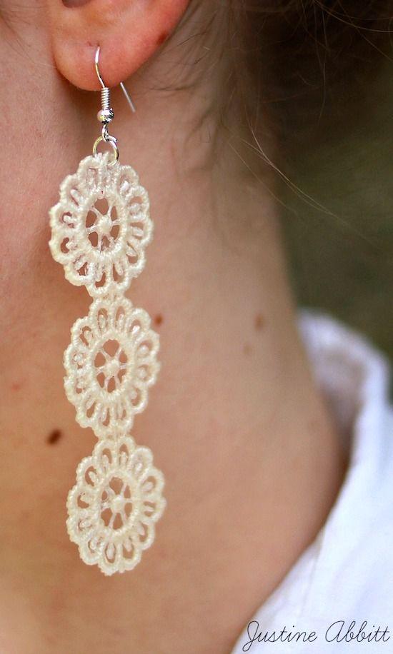 How to make DIY lace earrings   Diy earrings, Scrap and Easy