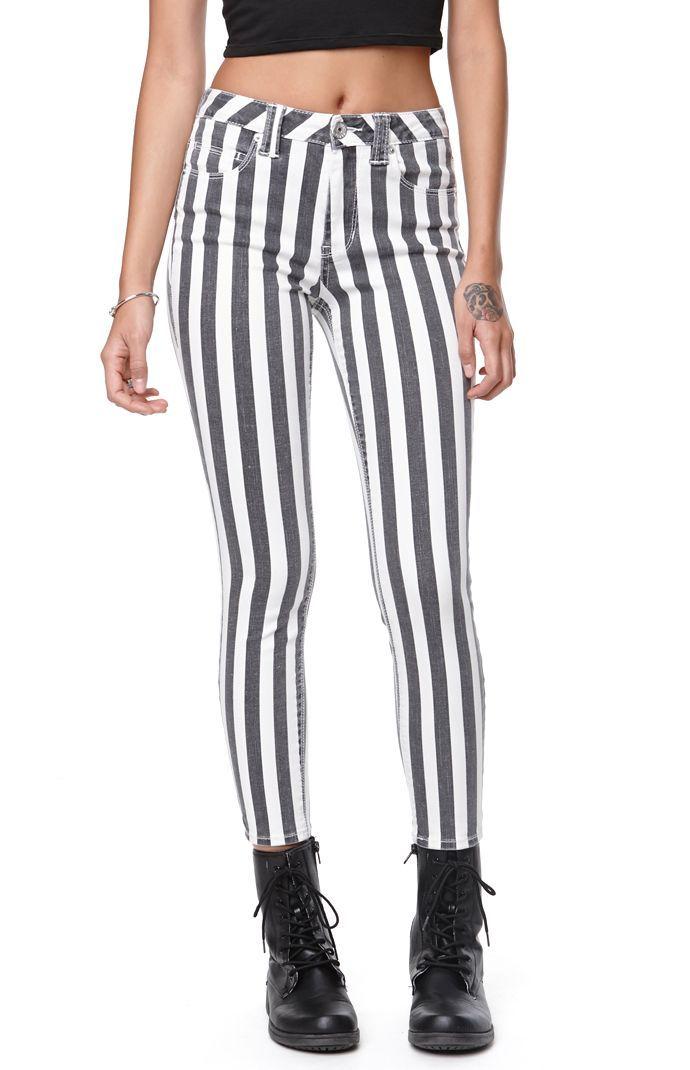 Bullhead Denim Co HighRise Ankle Zip Striped Jeans