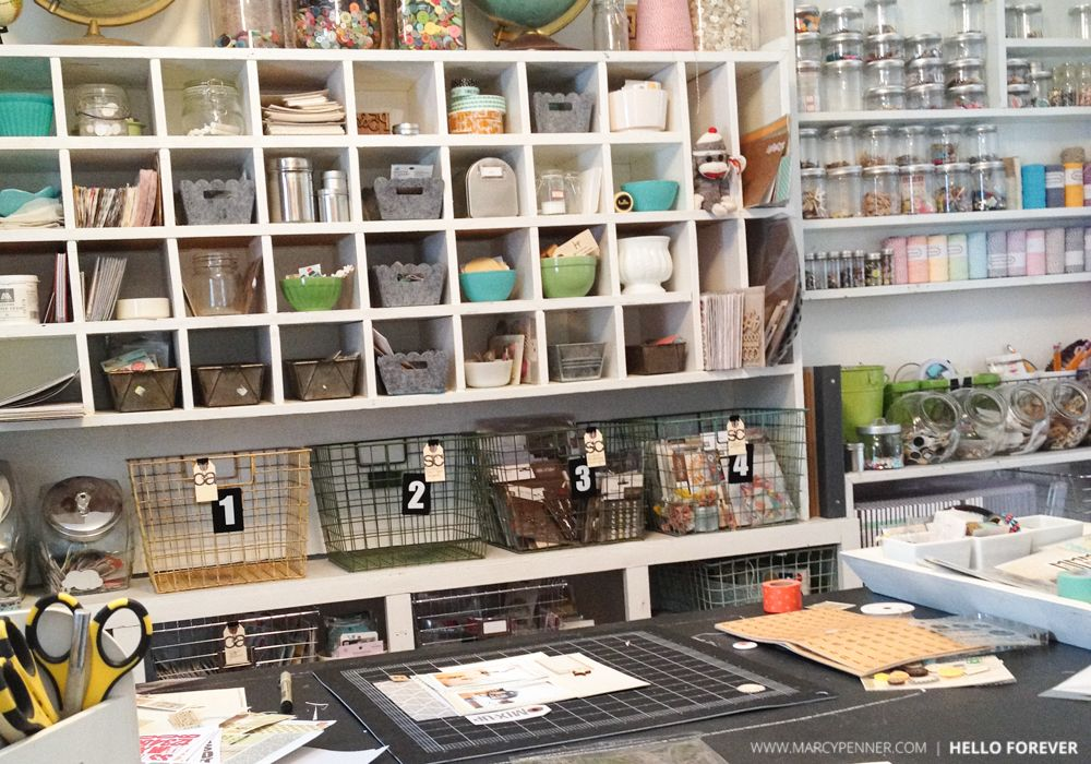 The cubbies, the containers and those wire baskets - I want a craft space like this puh-leaaasssee