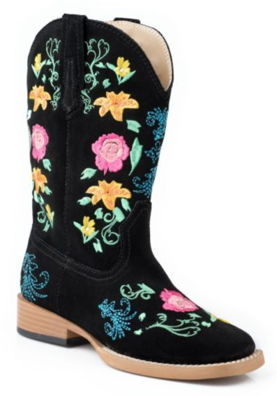 f5f06140a34 Roper Toddler Girls' Black Floral Embroidered Cowgirl Boots ...
