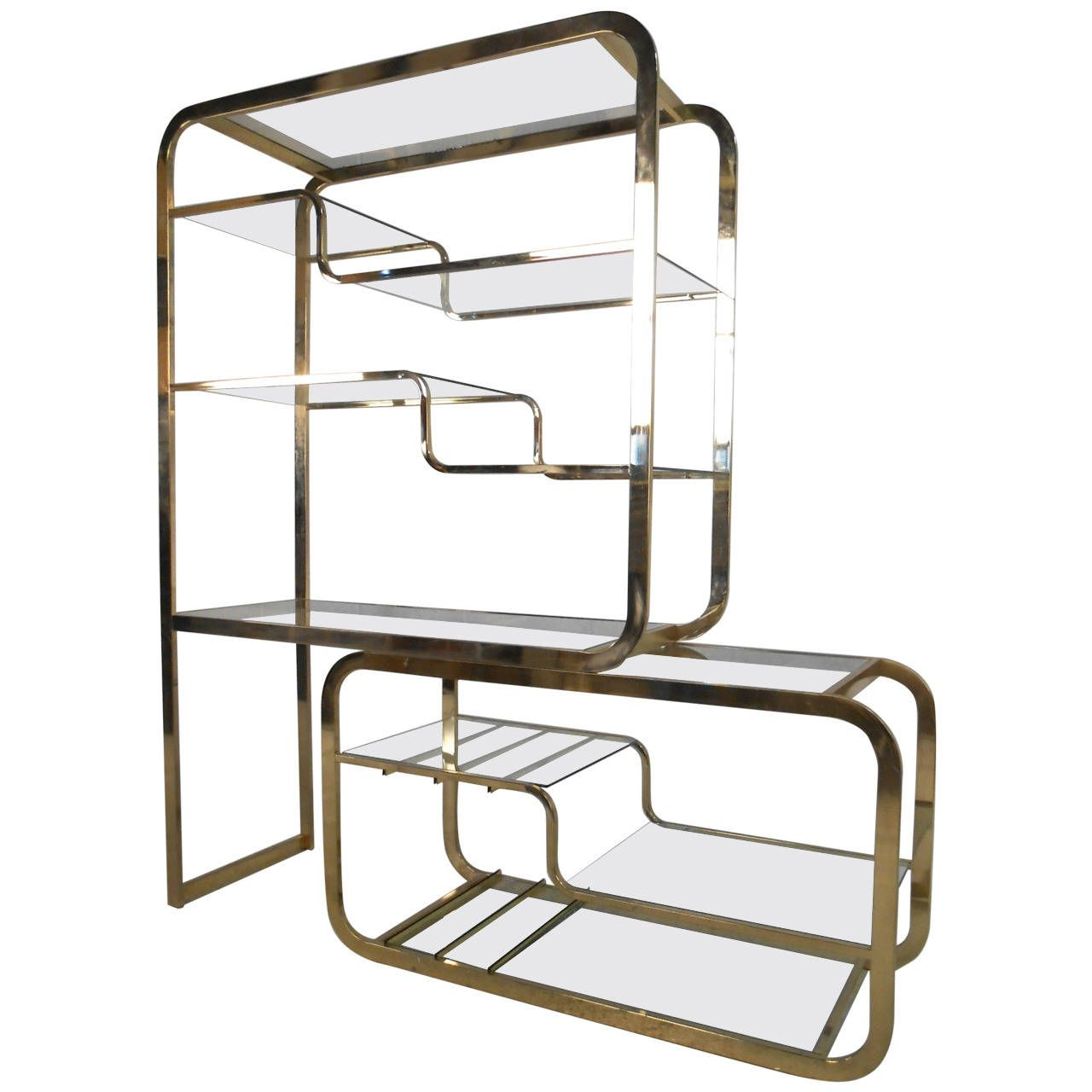 Unique Mid Century Modern Milo Baughman For DIA Brass U0026 Glass Etagere
